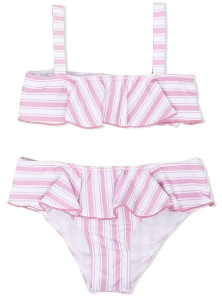 Douuod Light Pink And White Bikini Set - Bianco+rosa