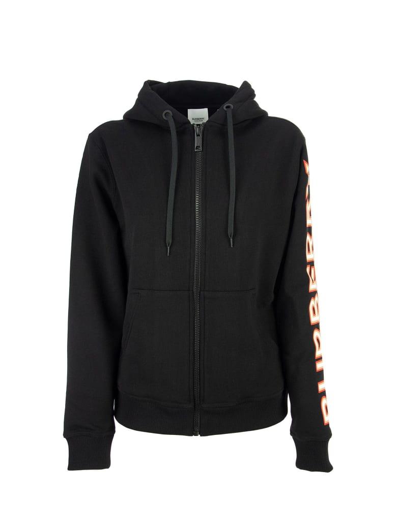 Burberry Rylee - Logo Print Cotton Oversized Hooded Sweatshirt - Black