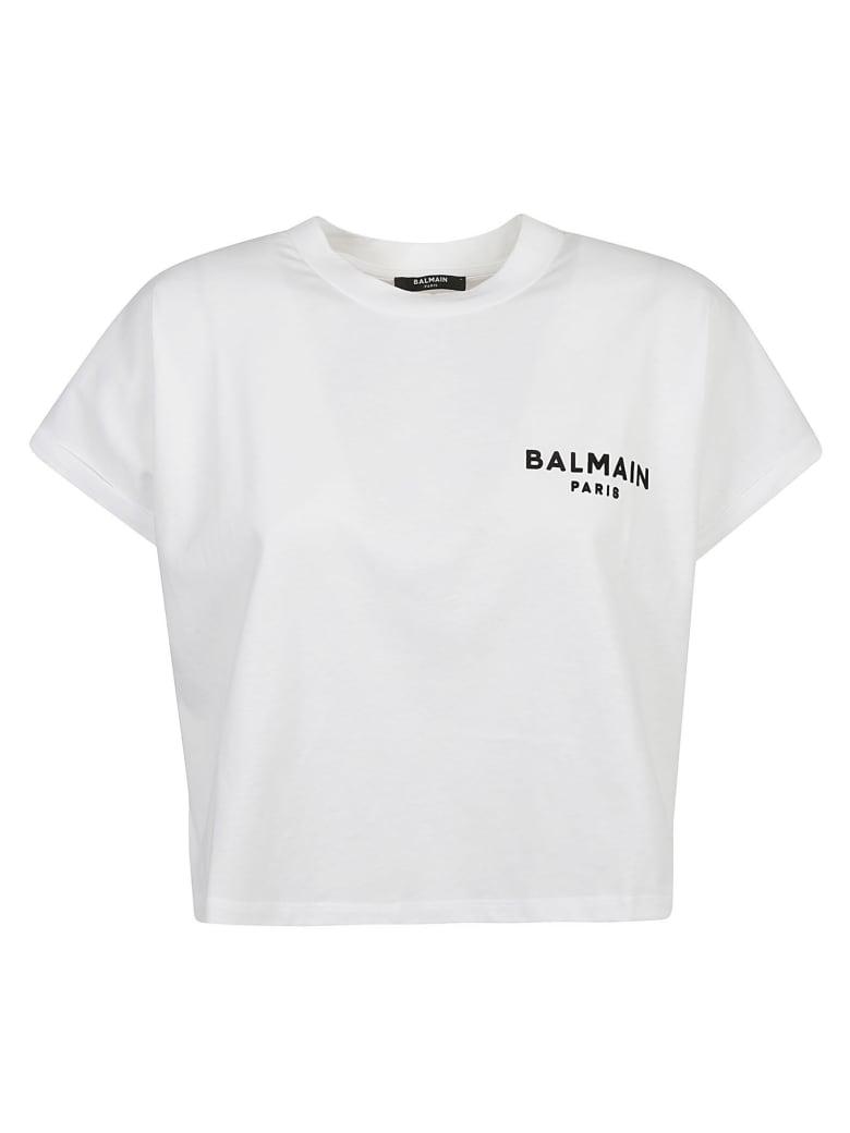 Balmain Cropped Logo Print T-shirt - White/Black