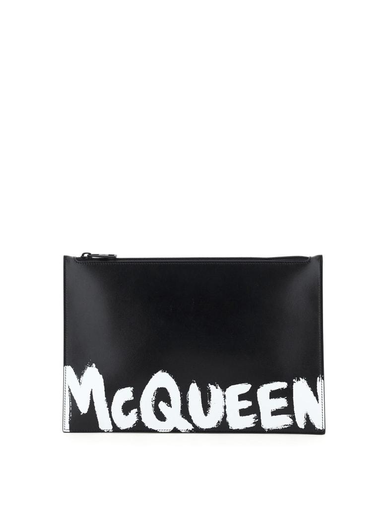 Alexander McQueen Flat Pouch Graffiti Logo - Nero