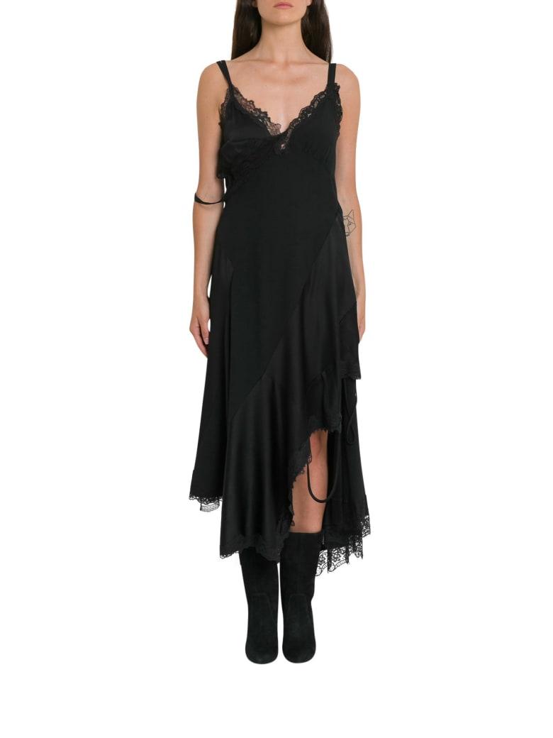 MONSE Asymmetric Lace Crepe Slip Dress - Black