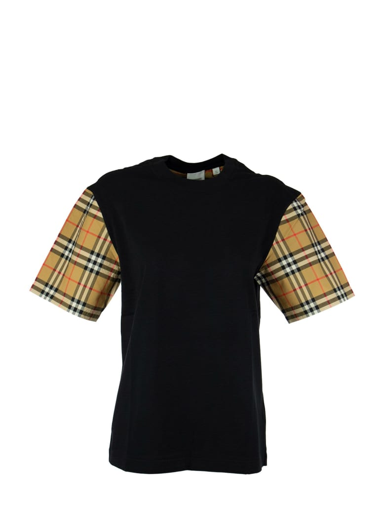 Burberry Serra - Vintage Check Sleeve Cotton T-shirt - Black