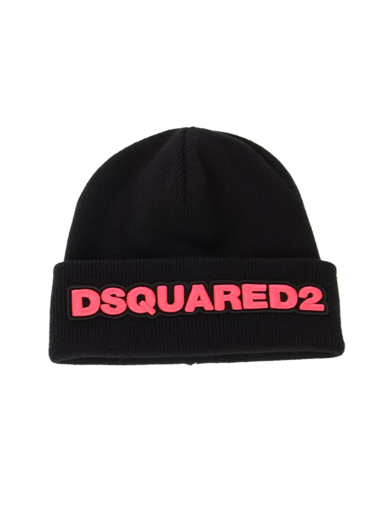 Dsquared2 Logo Patched Beanie - Nero