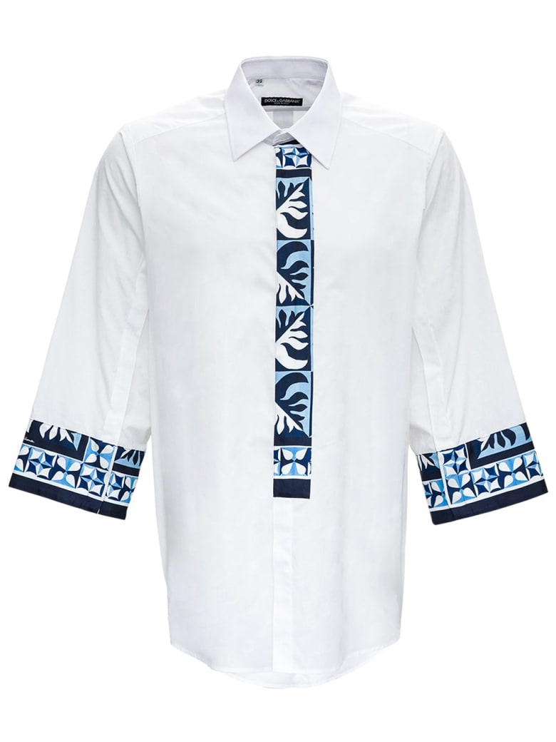 Dolce & Gabbana Oxford Patch Shirt In Cotton Poplin - White
