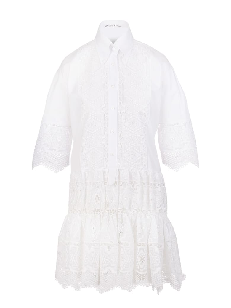 Ermanno Scervino White Short Dress With Embroidery And Macrame' - Bianco