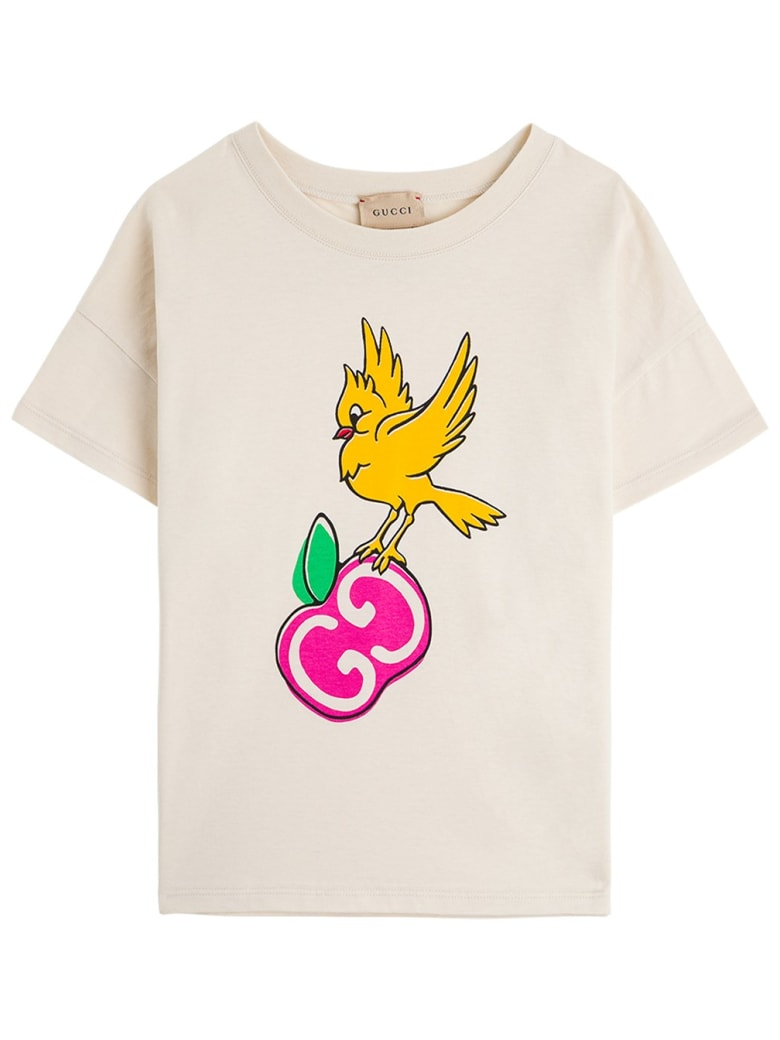 Gucci Jersey T-shirt With Gg Apple Print - Bone
