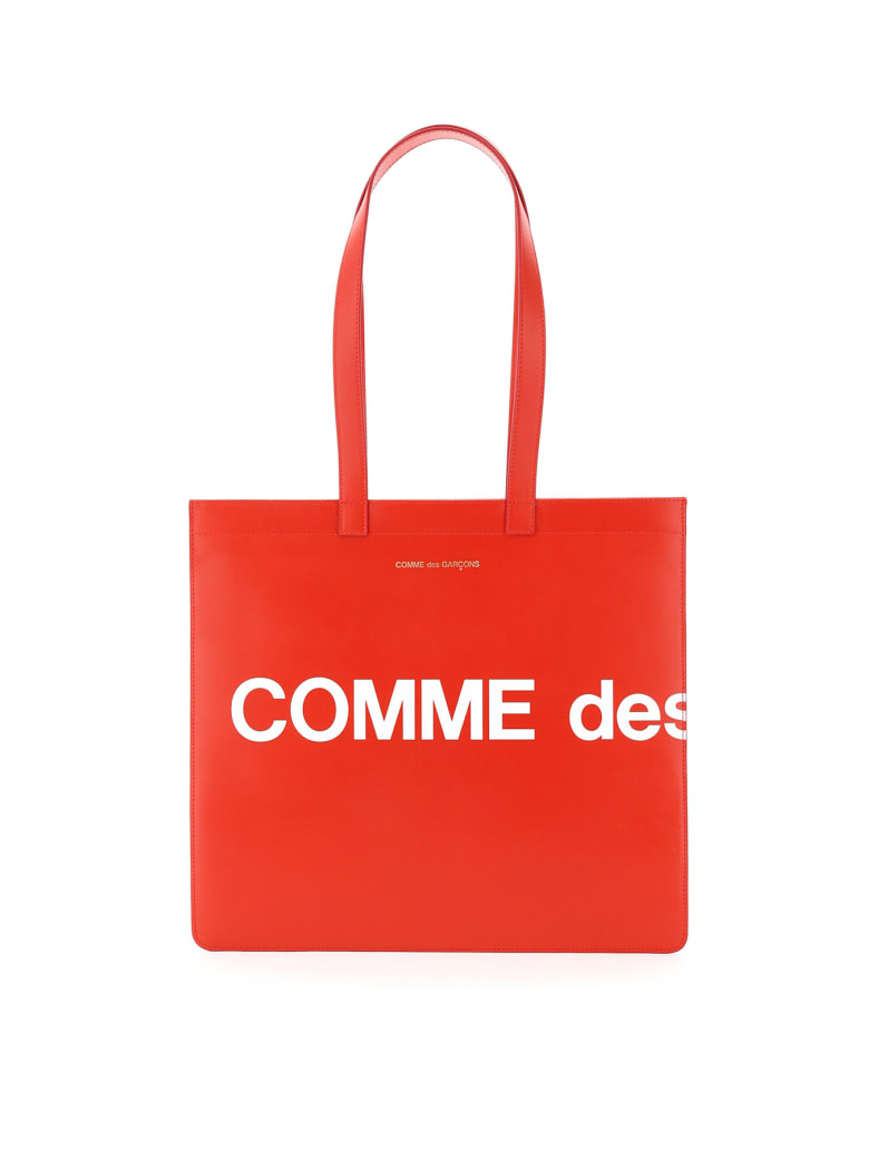 Comme des Garçons Shirt Boy Leather Tote Bag With Logo - Red