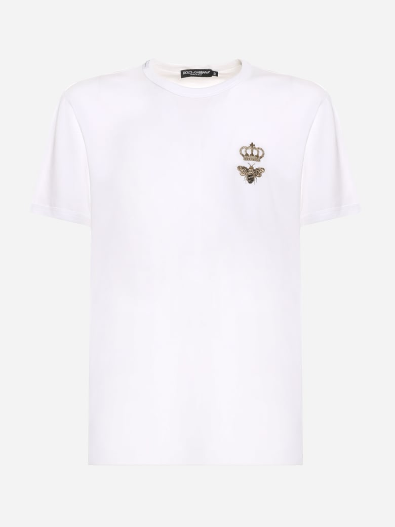 Dolce & Gabbana Cotton T-shirt With Logo Embroidery - White