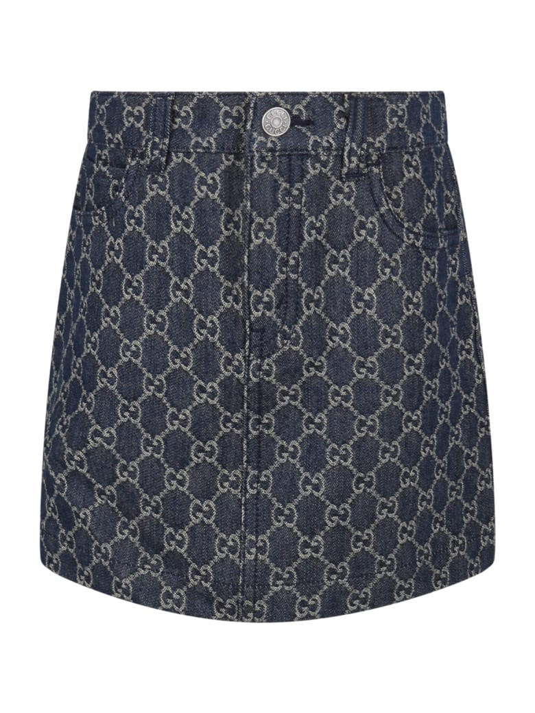 Gucci Blue Skirt For Girl With Double Gg - Denim