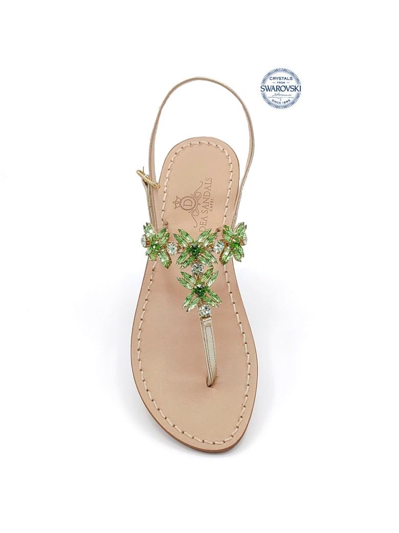Dea Sandals Bagni Di Tiberio Jewel Thong Sandals - gold, green