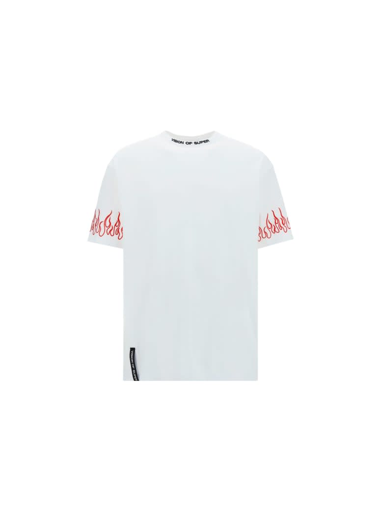 Vision of Super White Tshirt Embroidered Red Flame - WHITE