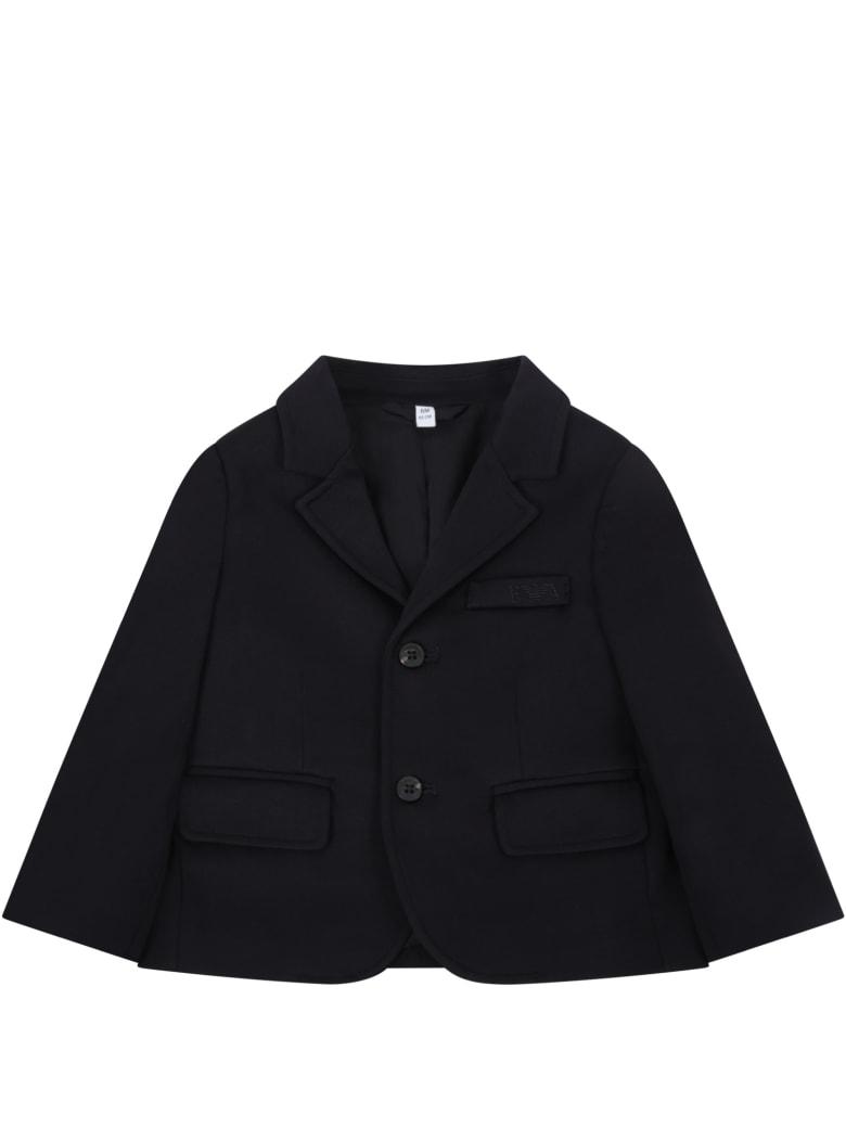 Armani Collezioni Blue Jacket For Babyboy - Blue