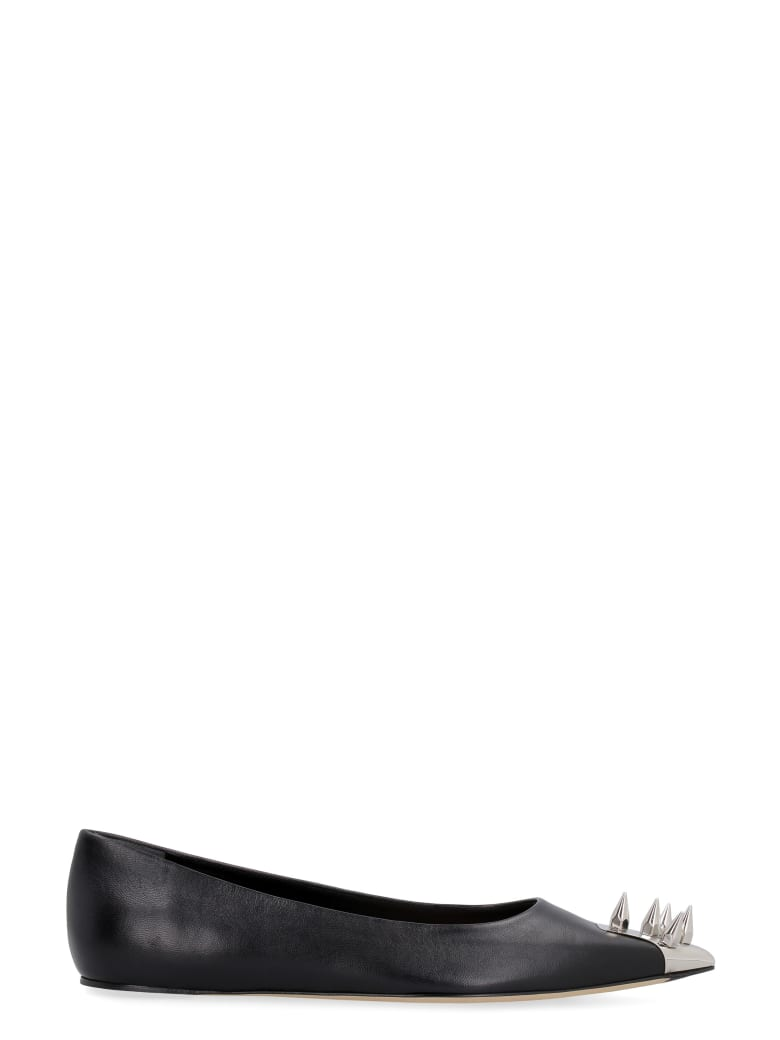 Alexander McQueen Leather Pointy-toe Ballet Flats - Black/silver