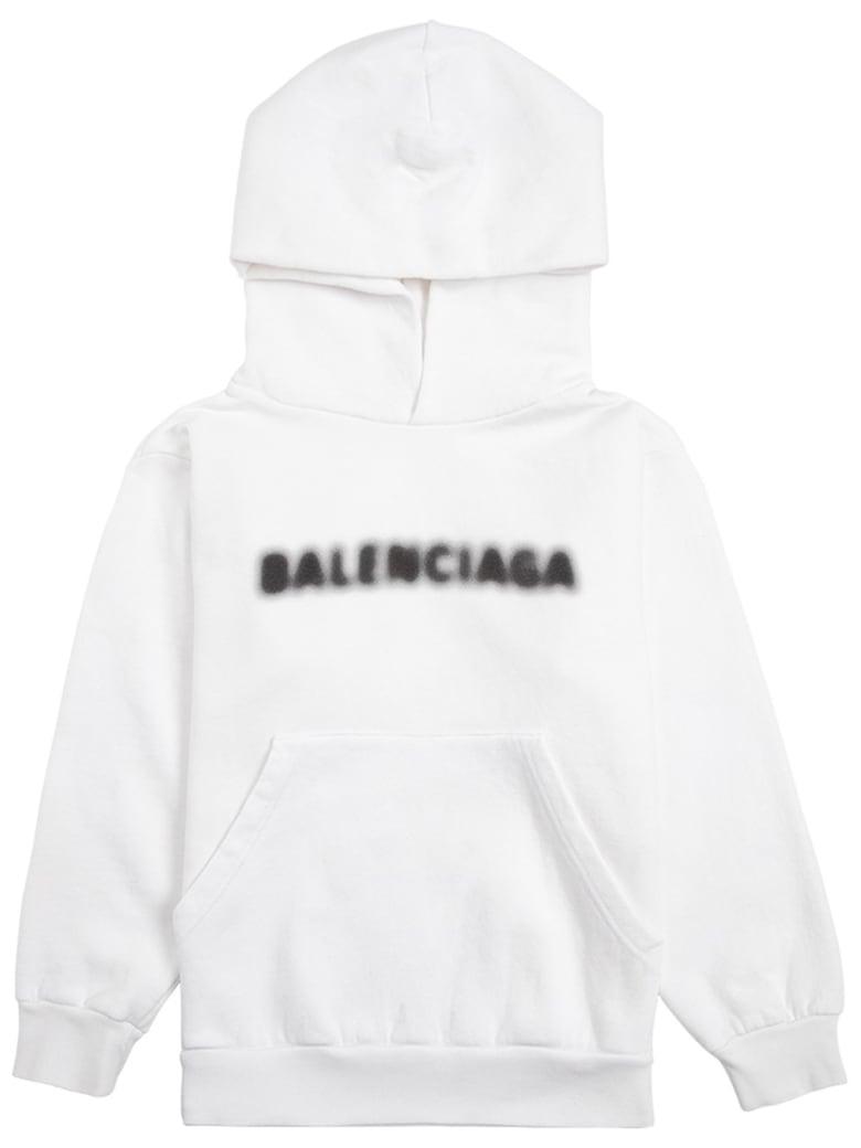 Balenciaga White Jersey Hoodie With Logo Print - White