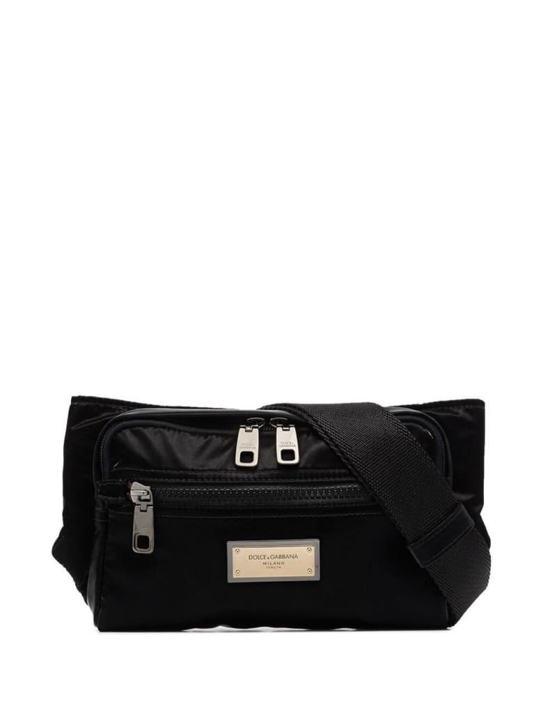 Dolce & Gabbana Belt Bag In Shiny Nylon With Logo - Black
