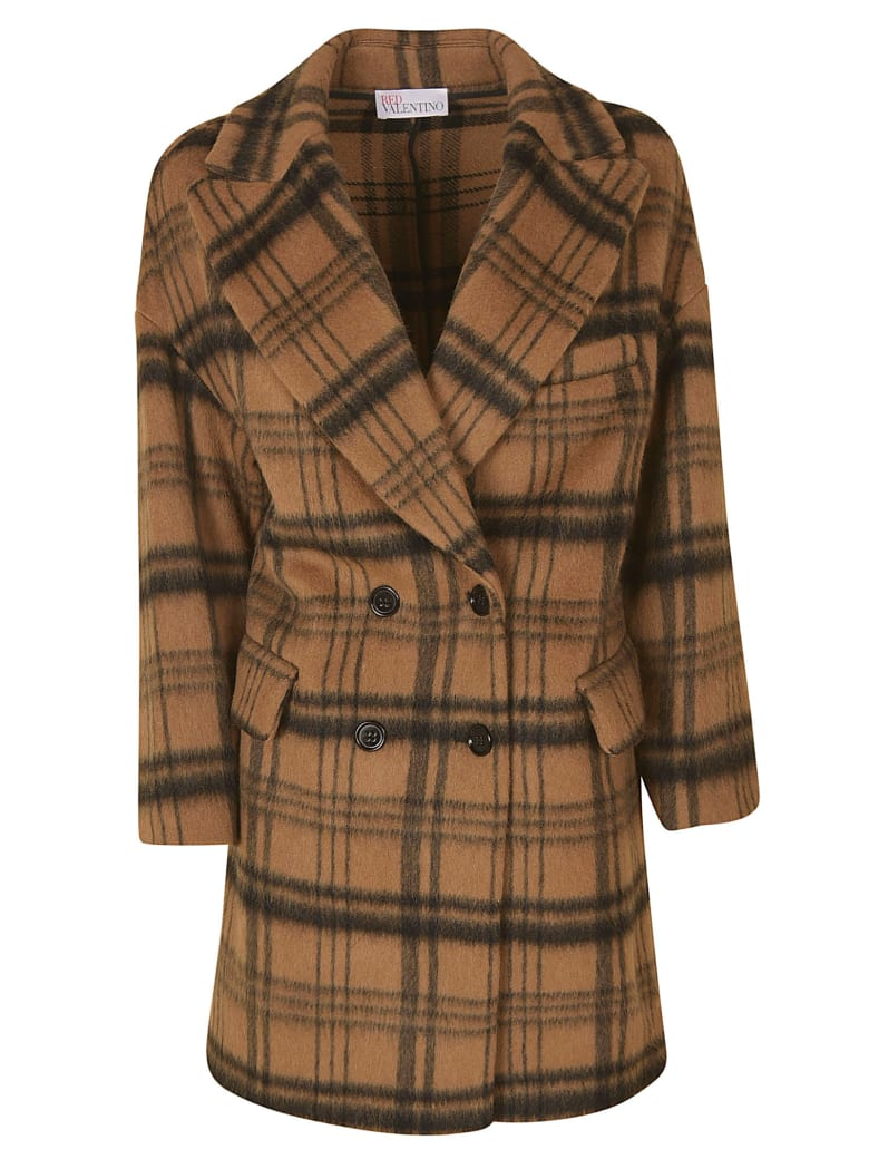RED Valentino Double-breasted Check Coat - Camel