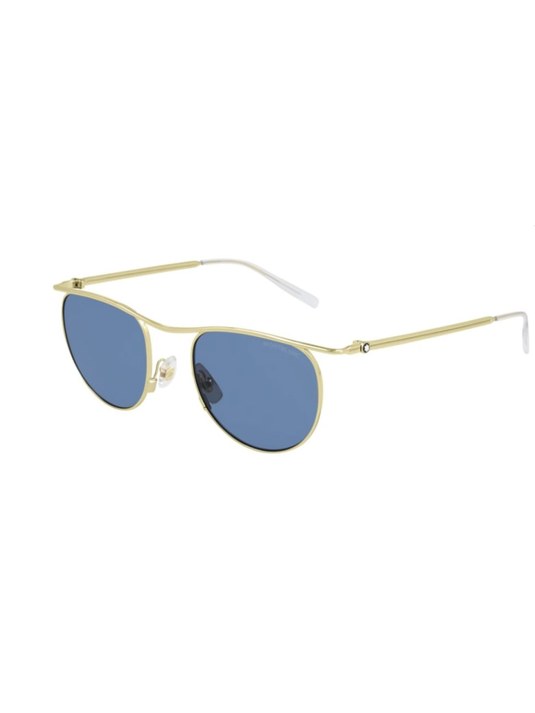 Montblanc MB0168S Sunglasses - Gold Gold Blue
