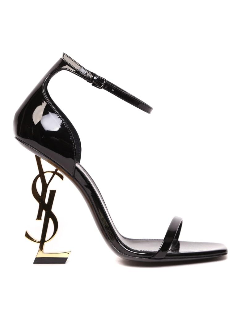 Saint Laurent Opyum Black Patent Leather Sandals - Black