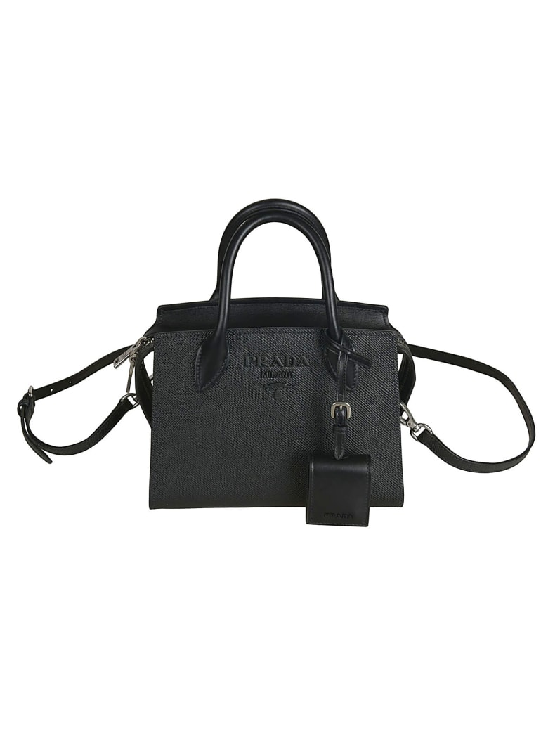 Prada Embossed Logo Tote - Black