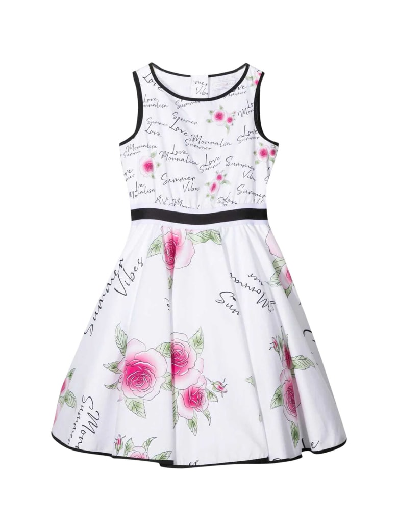 Monnalisa White Dress - Bianco e Rosa