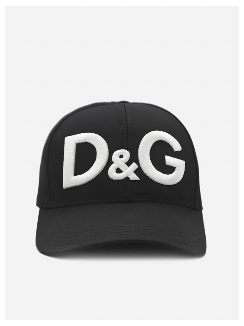 Dolce & Gabbana Cotton Hat With Contrasting Embroidered Logo - Black