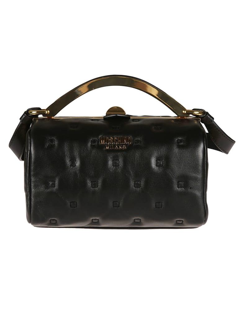 Moschino Stitch Detail Twist Top Shoulder Bag - Black