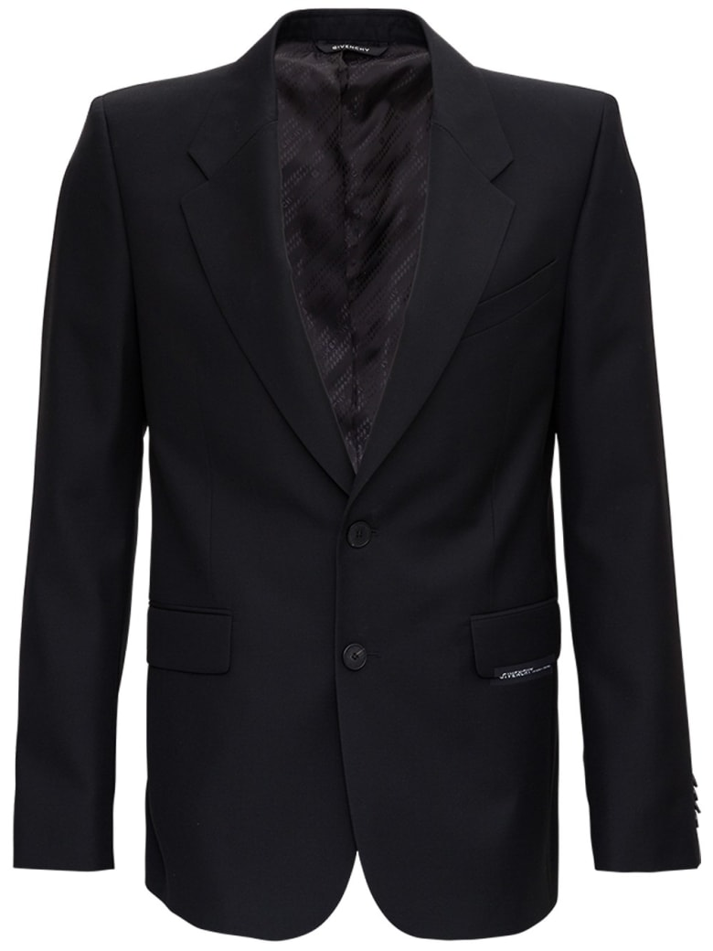 Givenchy Single Breasted Blazer In Black Wool - Black
