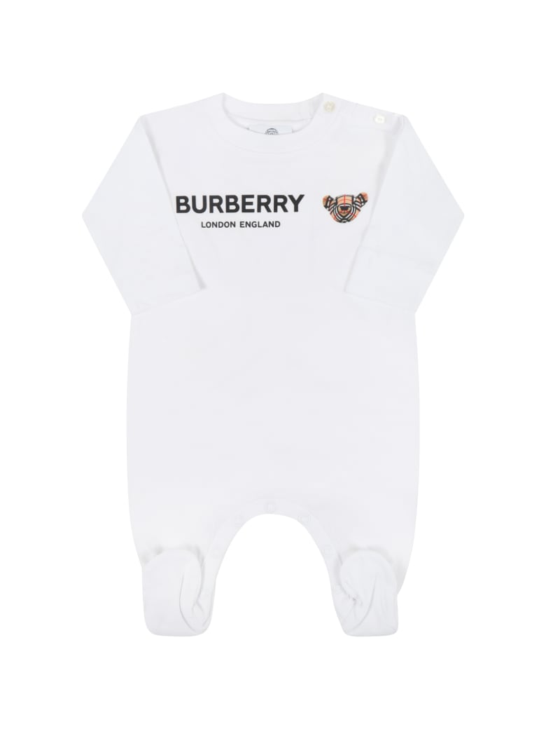 Burberry White Jumpsuit For Babykids With Thomas Bear - White