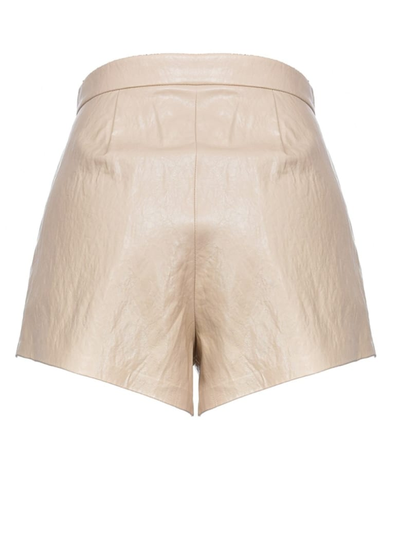 Pinko Beige Leatheret Shorts - Beige Sabbia