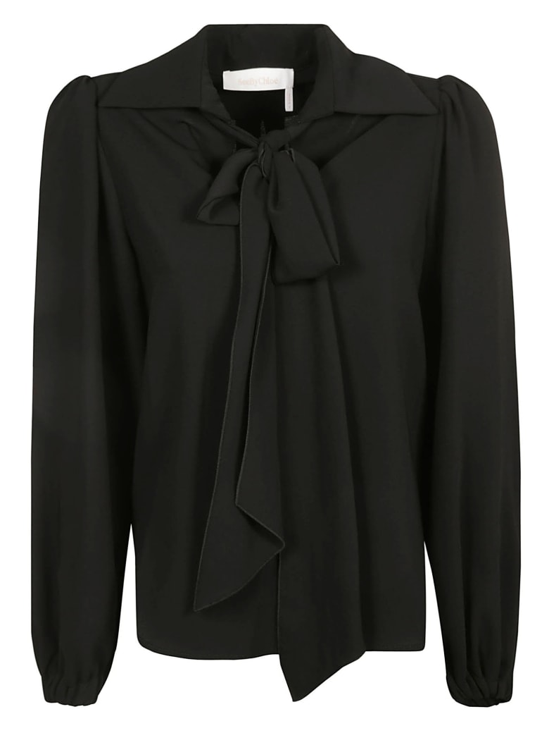 See by Chloé Bow-tie Detail Top - Black