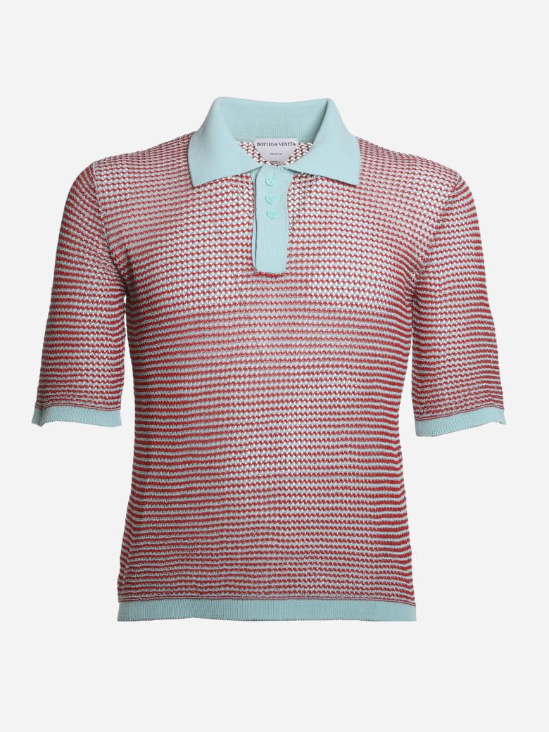 Bottega Veneta Loose Weave Polo Made Of Cotton - Red, light blue