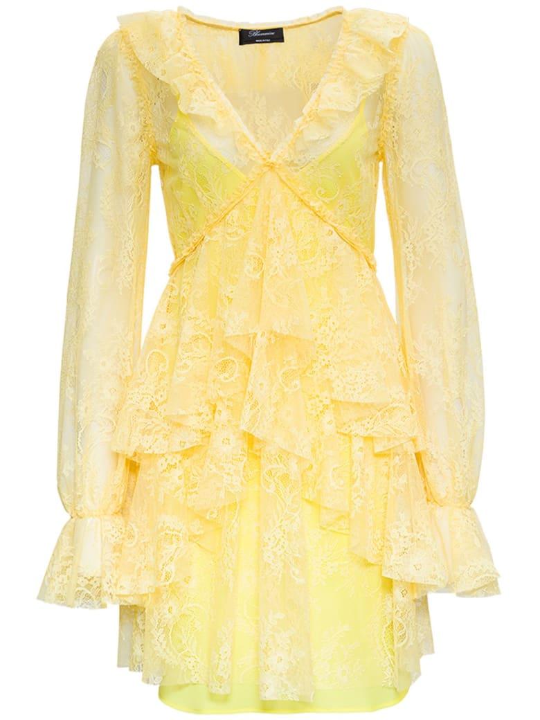 Blumarine Yellow Lace Dress With Ruffles Detail - Yellow