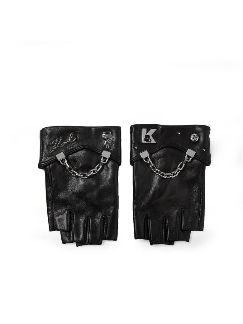 Karl Lagerfeld K/seven Black Leather Gloves - Nero