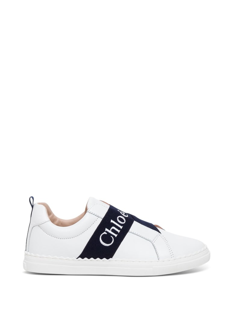Chloé Leather Sneakers With Logo Band Detail - White