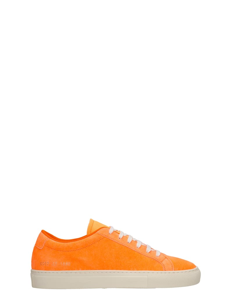 Common Projects Achille Fluo Sneakers In Orange Suede - orange