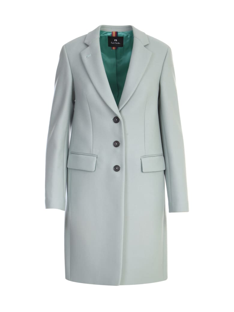 PS by Paul Smith Sinlgle Breasted Coat W/three Buttons - Gree