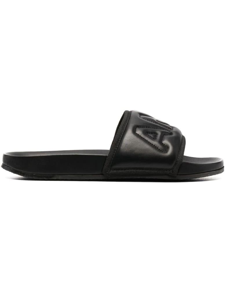 AMBUSH Black Leather Slides - Nero