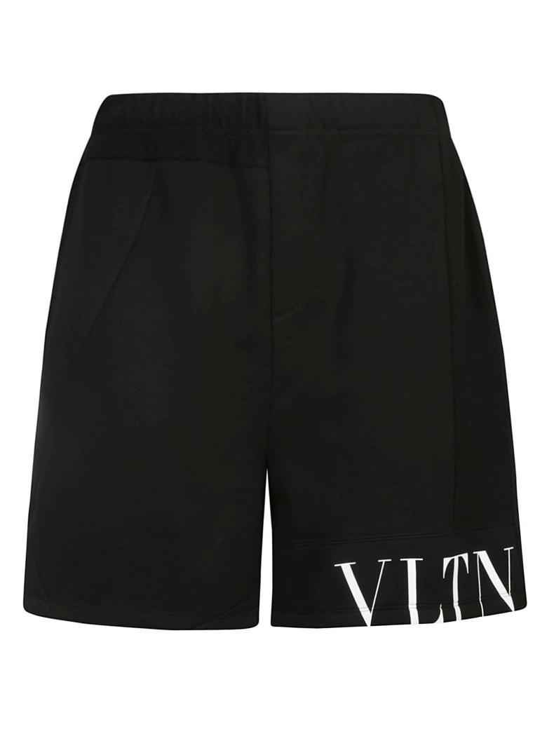 Valentino Logo Print Shorts - Black/Multicolor