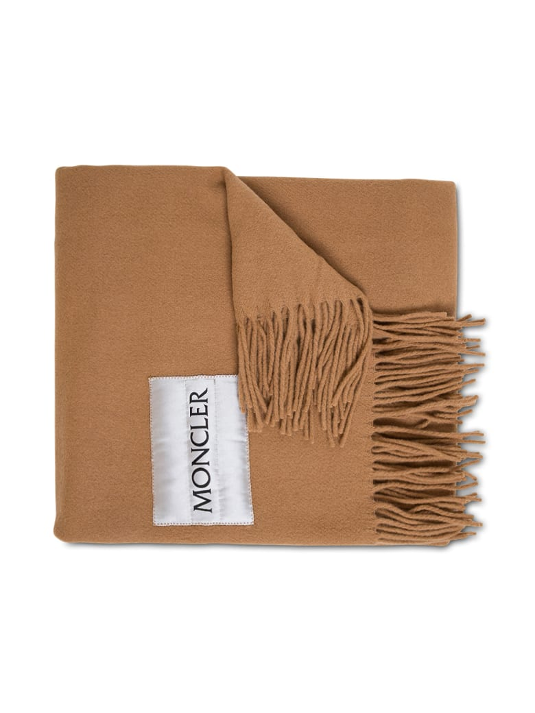 Moncler Camel Colored Wool Scarf With Logo - Brown