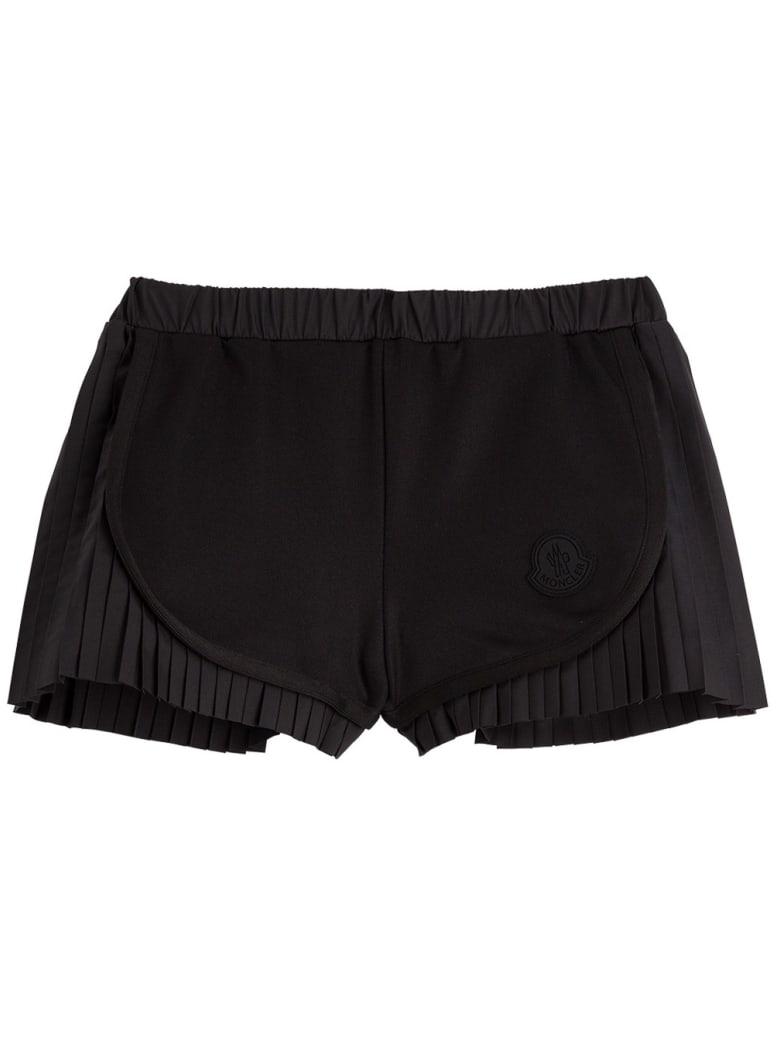 Moncler Pleated Cotton Blend Shorts - Black