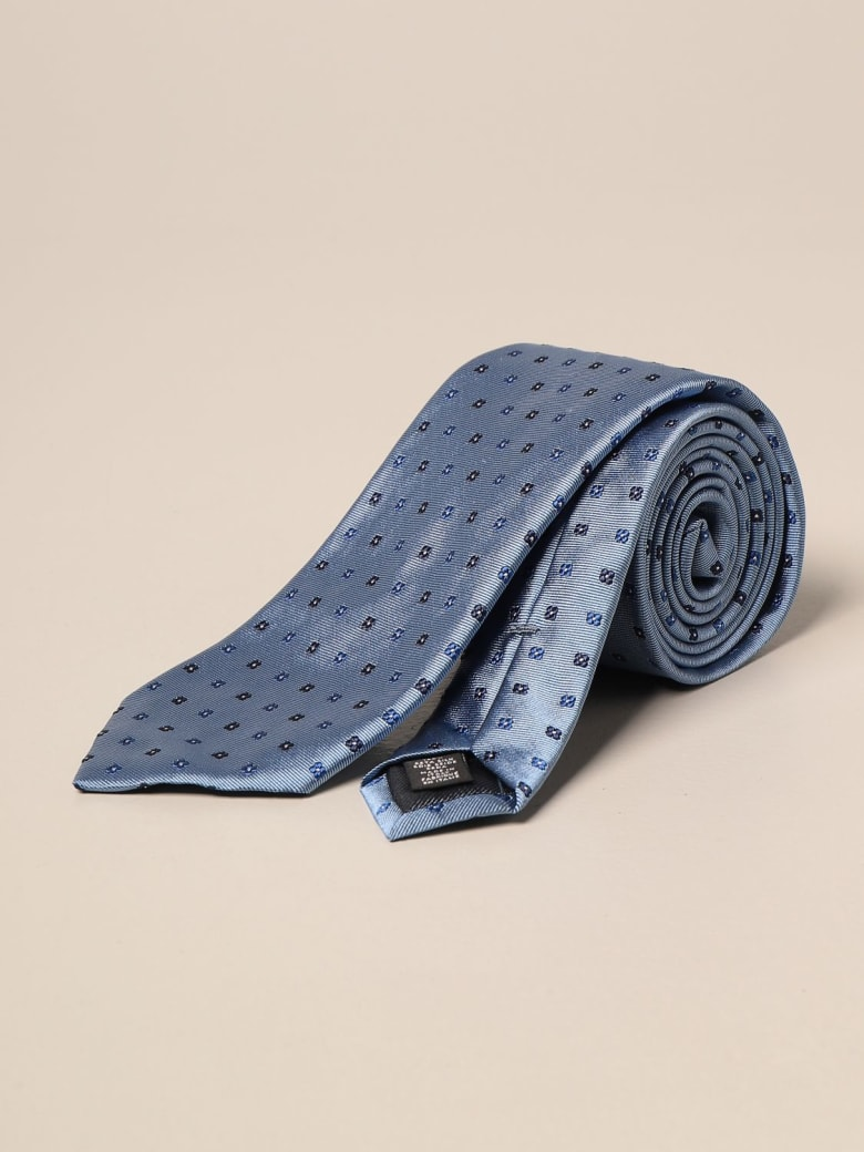Ermenegildo Zegna Tie Ermenegildo Zegna Tie In Micro Patterned Silk - Gnawed Blue