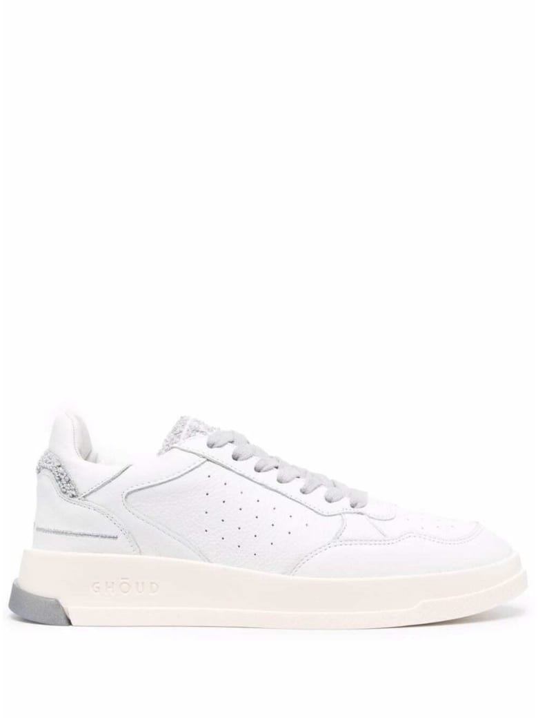 GHOUD Low Wom Leather Sneakers With Logo - White