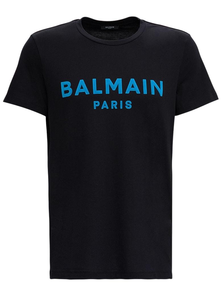 Balmain Cotton T-shirt With Logo Print - Black