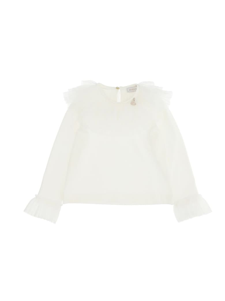 Monnalisa T-shirt With Galette Tulle - White