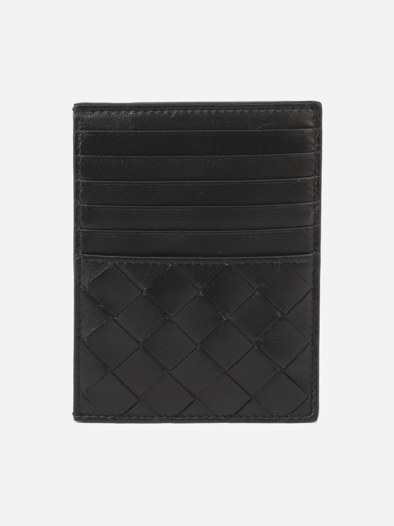 Bottega Veneta Card Holder With Maxi Intrecciato Motif In Leather - Black-silver