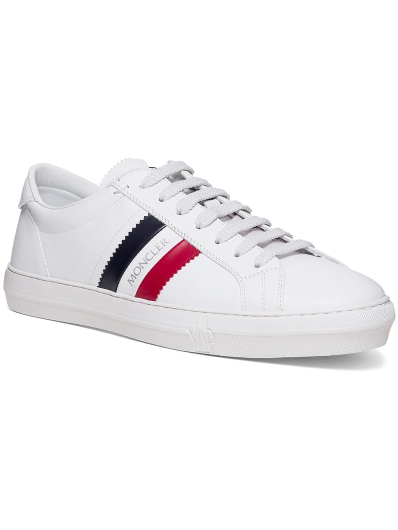 Moncler Monaco Low Sneakers In White Leather - White