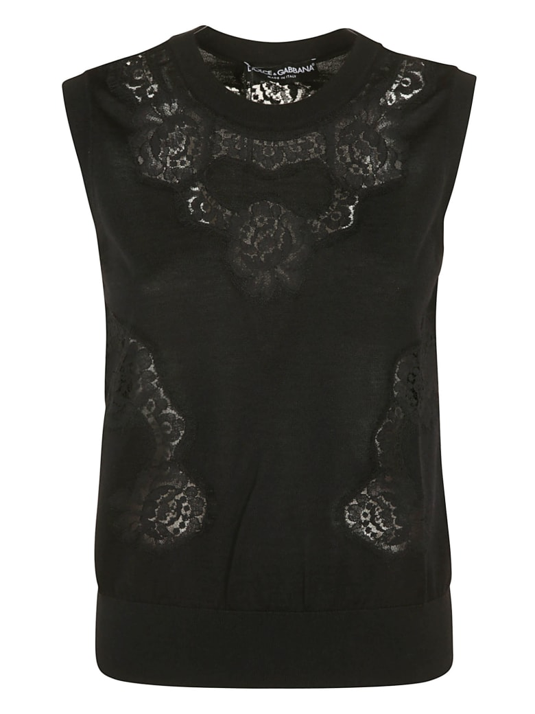 Dolce & Gabbana Floral Lace Paneled Sleeveless Top - Black