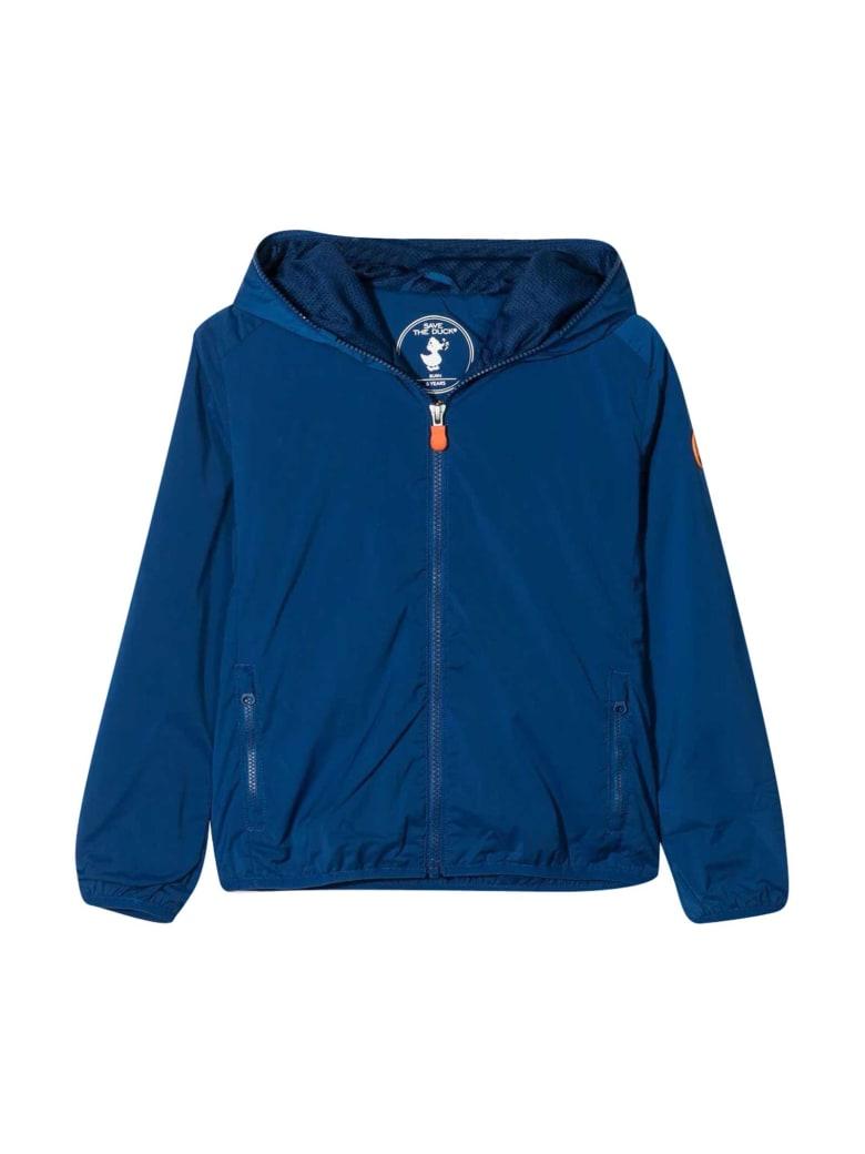 Save the Duck Waterproof Jacket With Hood - Blu