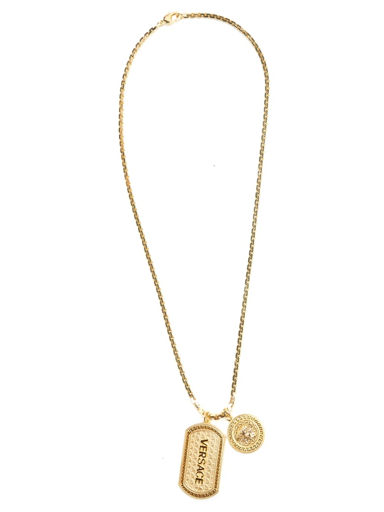 Versace 'iconic Guillochè' Necklace - Gold