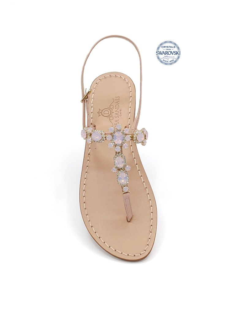 Dea Sandals Via Krupp Jewel Flip Flops Sandals - pink, crystal, pink opal